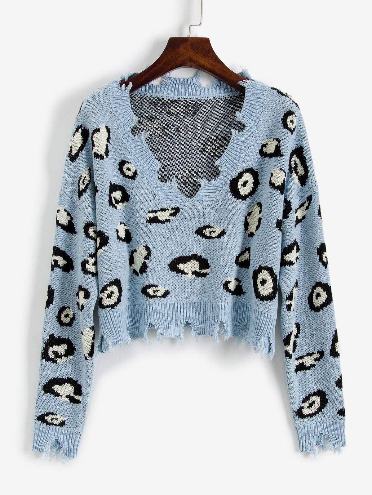 ZAFUL Leopard Ripped V Neck Crop Sweater thumbnail