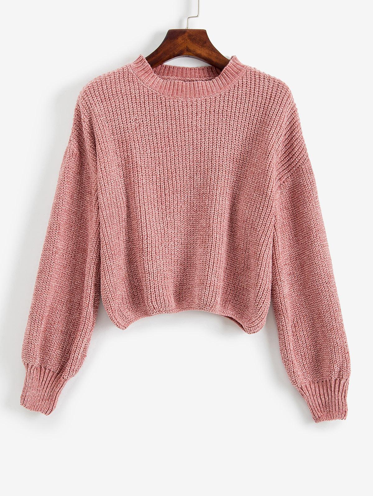 Crew Neck Drop Shoulder Chenille Sweater