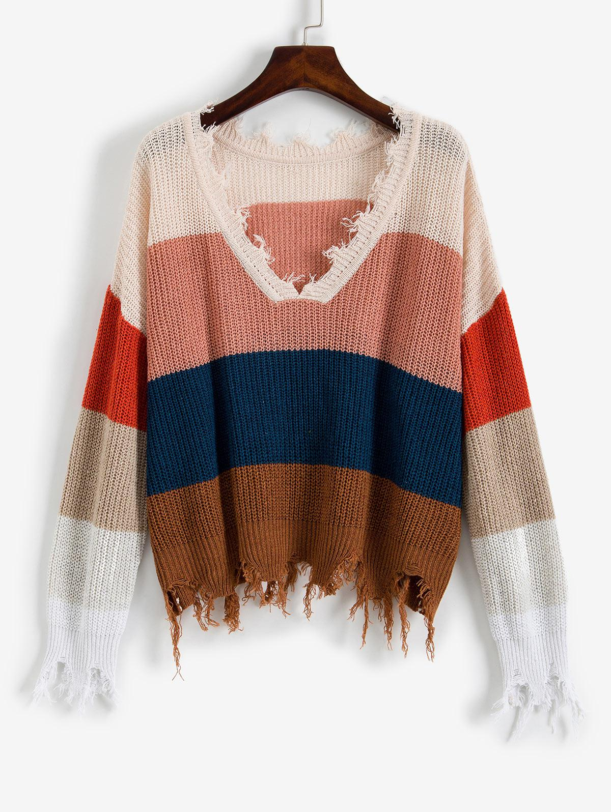 ZAFUL Colorblock Ripped V Neck Sweater thumbnail