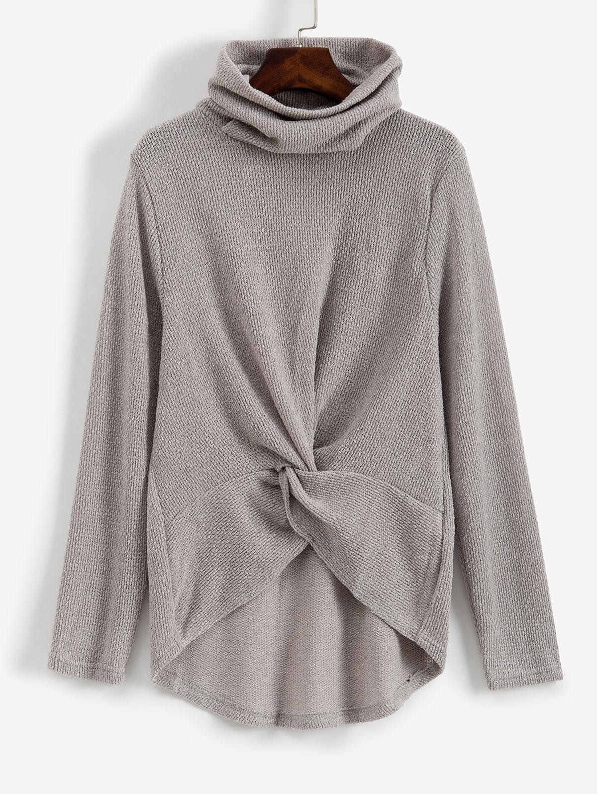 Twist Front Cowl Neck High Low Sweater