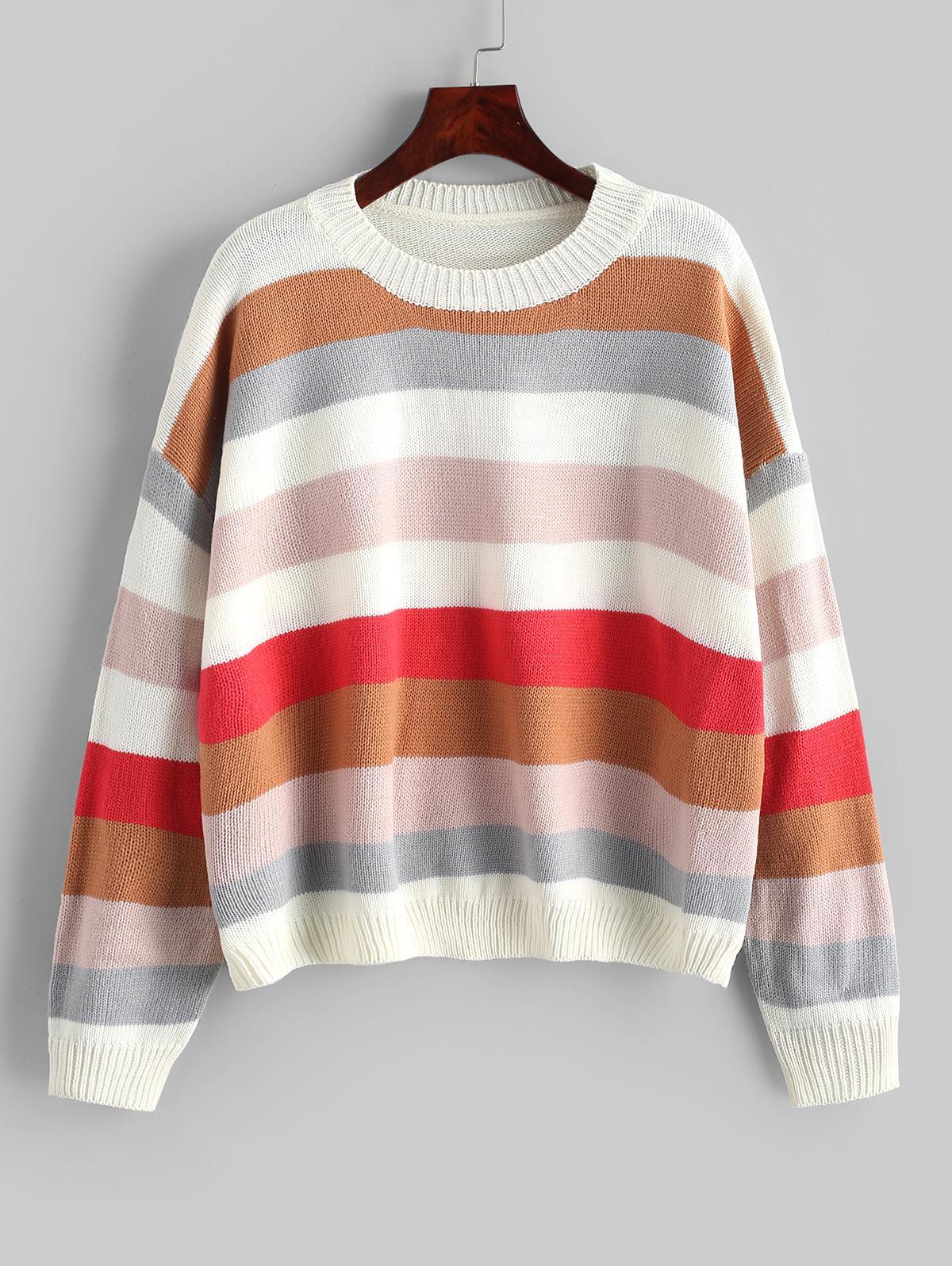 Color-blocking Rib Trim Pullover Sweater
