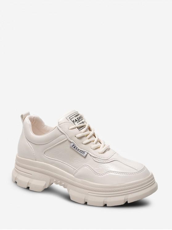 trendy Plain Faux Leather Chunky Heel Skate Shoes - APRICOT EU 38