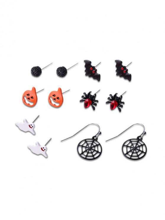 Set de 6 pares de pendientes de murciélago araña de calabaza de Halloween - Negro