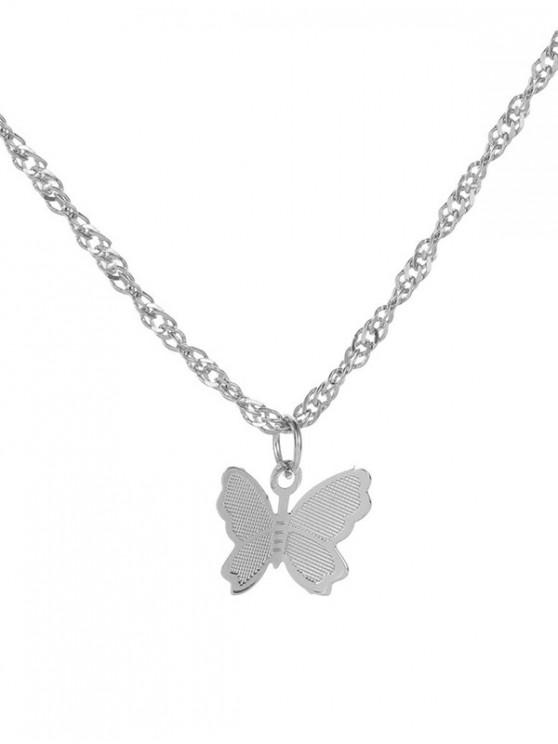 蝴蝶吊墜鏈金屬項鍊 - 銀