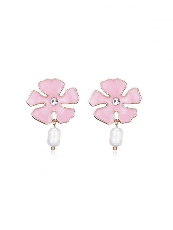 shops Glazed Flower Petal Faux Pearl Stud Earrings - LIGHT PINK