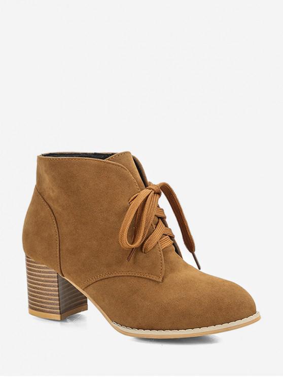 厚實的鞋跟繫帶裝飾靴子 - 老虎橙 歐盟37