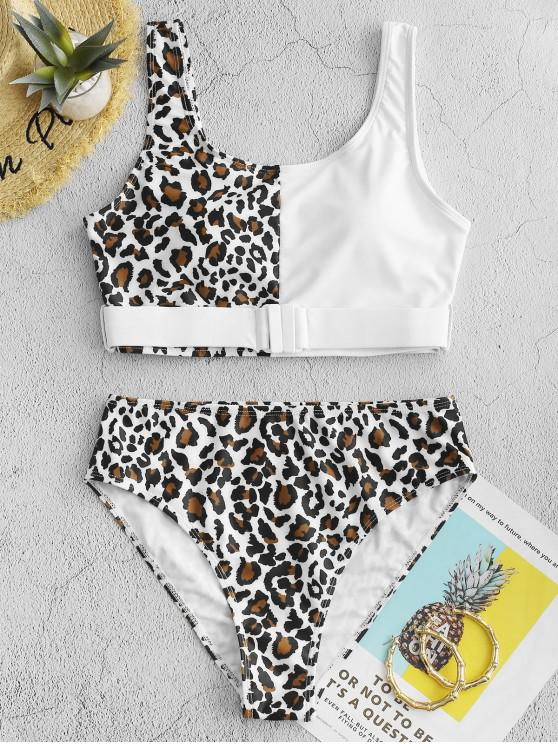 ladies ZAFUL Leopard Animal Print Belted Contrast Tankini Swimsuit - WHITE L