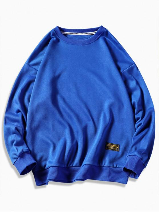 shop Graphic Printed Casual Fuzzy Sweatshirt - COBALT BLUE L