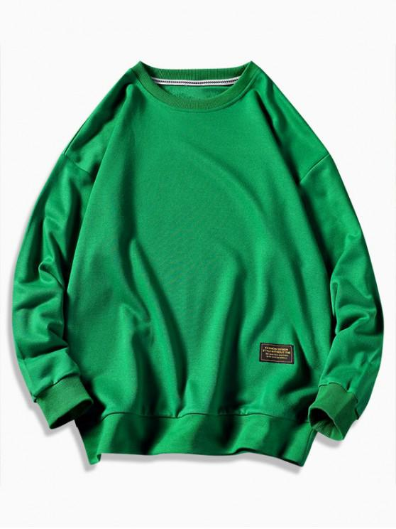 chic Graphic Printed Casual Fuzzy Sweatshirt - CLOVER GREEN L