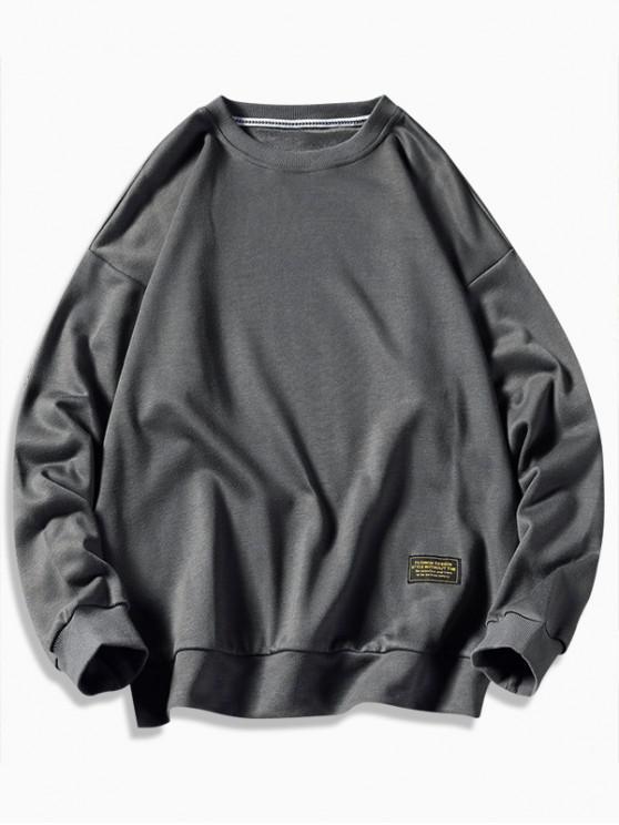 women Graphic Printed Casual Fuzzy Sweatshirt - CLOUDY GRAY 2XL