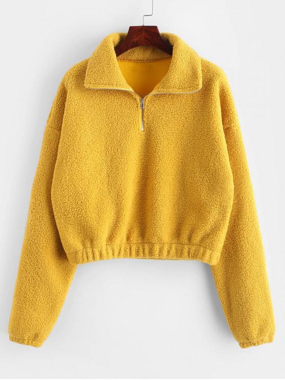 ladies Half Zip Plain Faux Fur Sweatshirt - YELLOW M