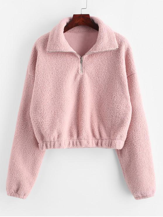 outfit Half Zip Plain Faux Fur Sweatshirt - PINK S