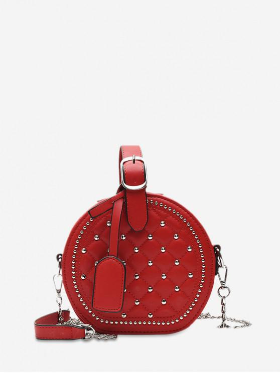 women Chain Rhombic Rivet Small Round Shoulder Bag - RED WINE