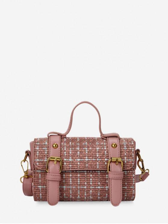 hot Checkered Rectangle Shoulder Messenger Bag - PINK