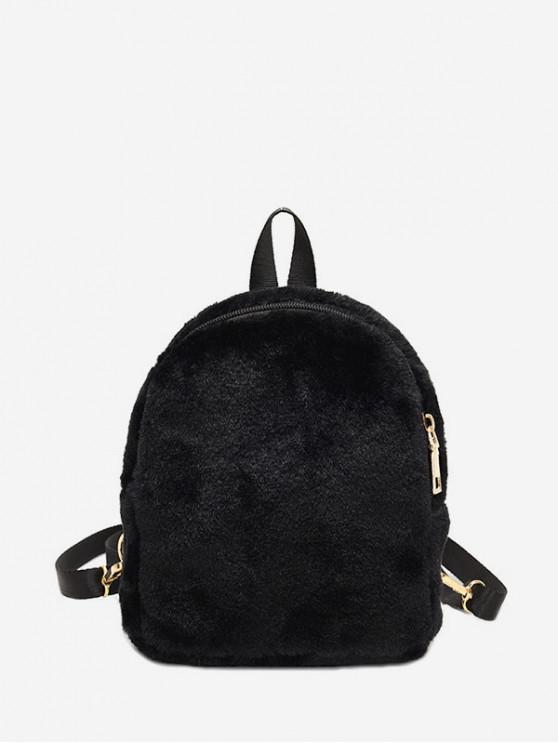 outfit Solid Faux Fur Mini Teddy Backpack - BLACK