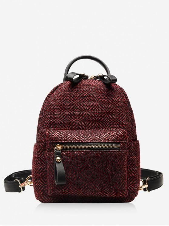 chic Casual Student Travel Cloth Fabric Backpack - RED
