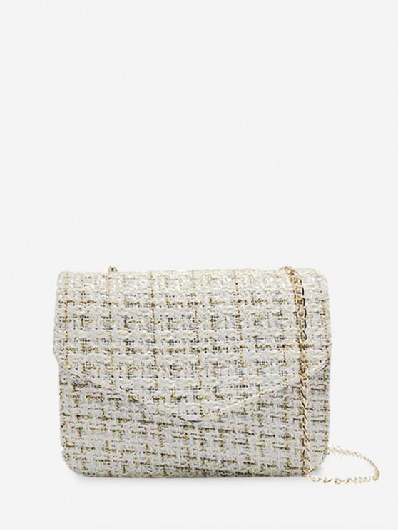 women's Crossbody Linen Square Chain Shoulder Bag - WHITE