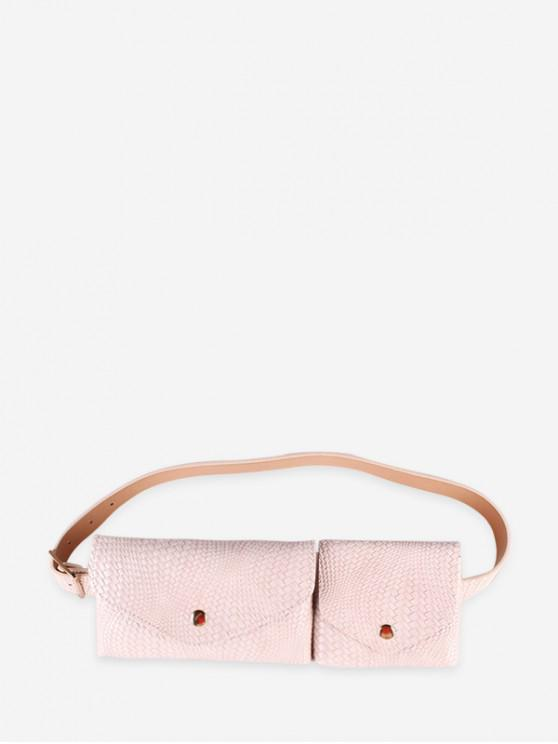 ladies Double Bag Design Fanny Pack Belt - BEIGE