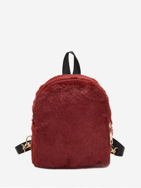 hot Solid Faux Fur Mini Teddy Backpack - RED WINE