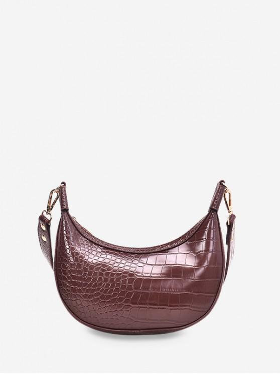 shops Leather Embossed Dumpling Shape Shoulder Bag - PUCE