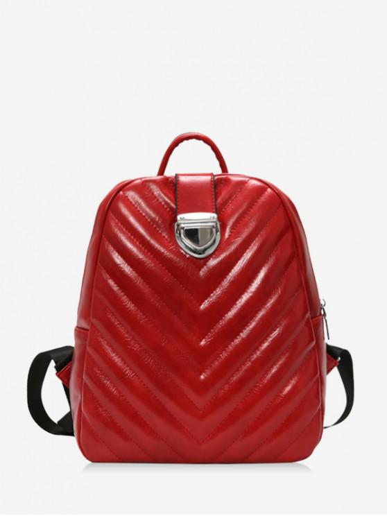 fancy Student Rhombic Embroidery Line Travel Backpack - RED