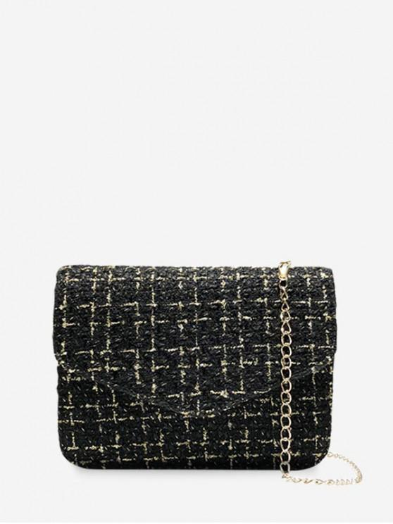 ladies Crossbody Linen Square Chain Shoulder Bag - BLACK
