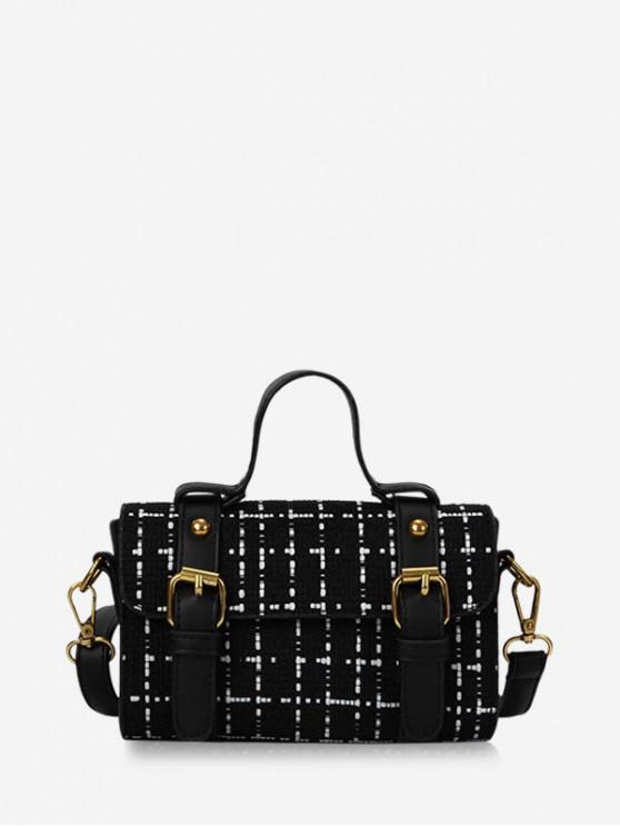 shop Checkered Rectangle Shoulder Messenger Bag - BLACK