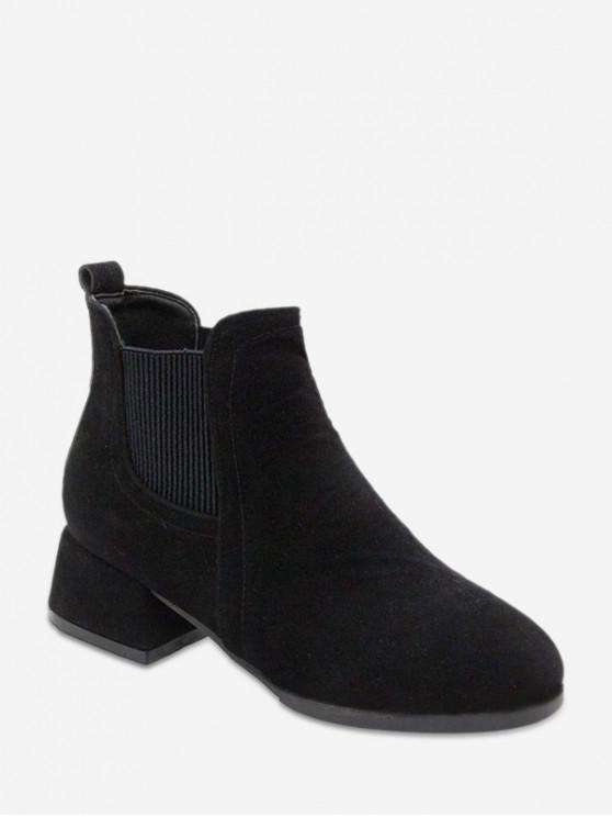 Low Block Heel Chelsea Short Boots BLACK LIGHT KHAKI
