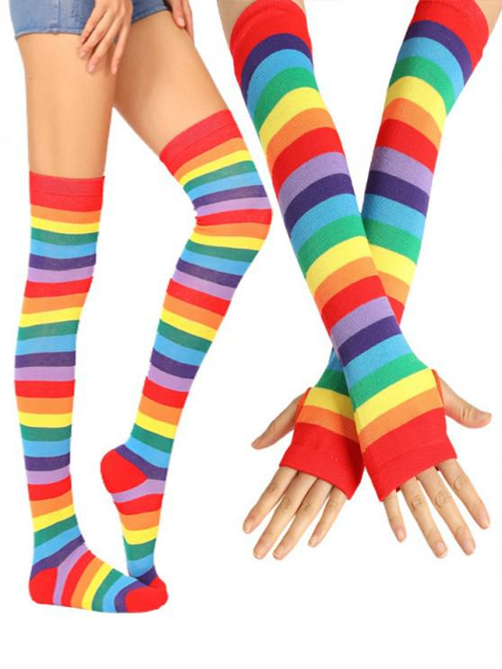 women Rainbow Thigh High Socks Arm Gloves Set - VALENTINE RED