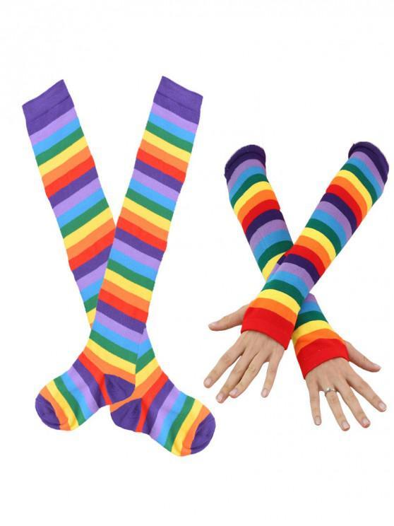 Conjunto de guantes Rainbow Thigh High Socks Arm - Púrpura