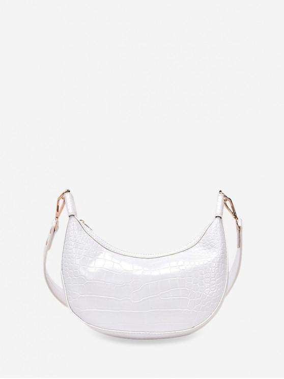 online Leather Embossed Dumpling Shape Shoulder Bag - MILK WHITE