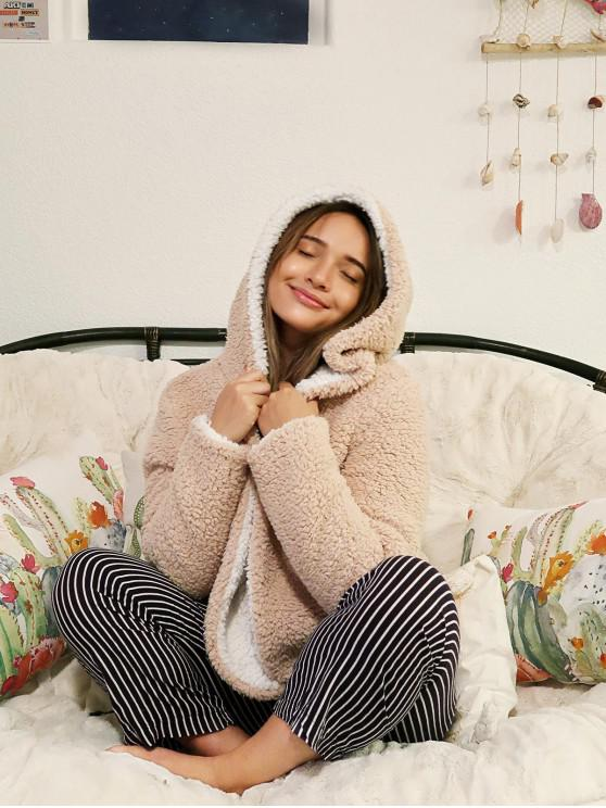 unique ZAFUL x Alexis Ricecakes Hooded Reversible Teddy Coat - WARM WHITE S