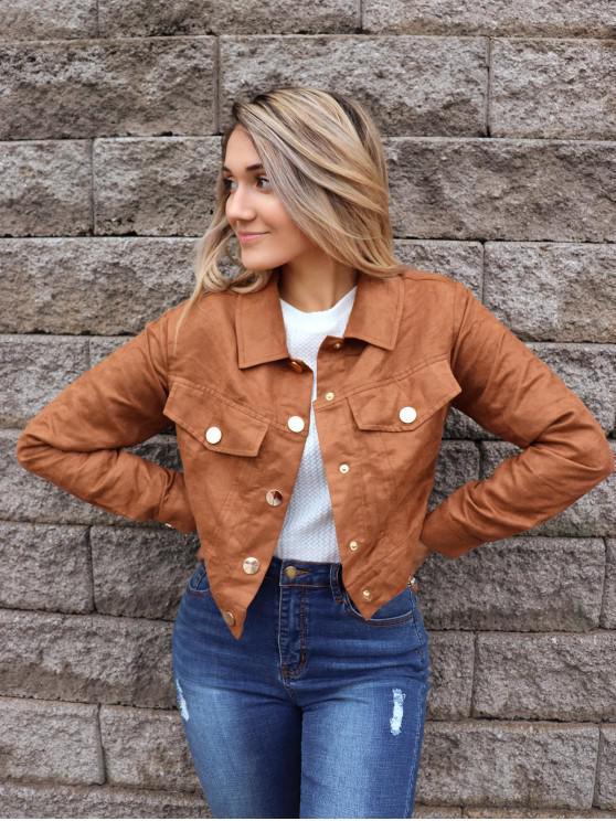 shop ZAFUL x Yasmine Bateman Snap Button Pockets Faux Suede Jacket - WOOD M