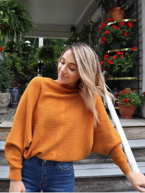 ZAFUL x Yasmine Bateman Dolman Sleeves V領純色開口針織毛衣 - 淺褐色 S
