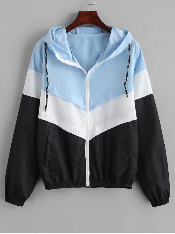 outfits Color-blocking Pocket Hooded Zip Windbreaker Jacket - MULTI S