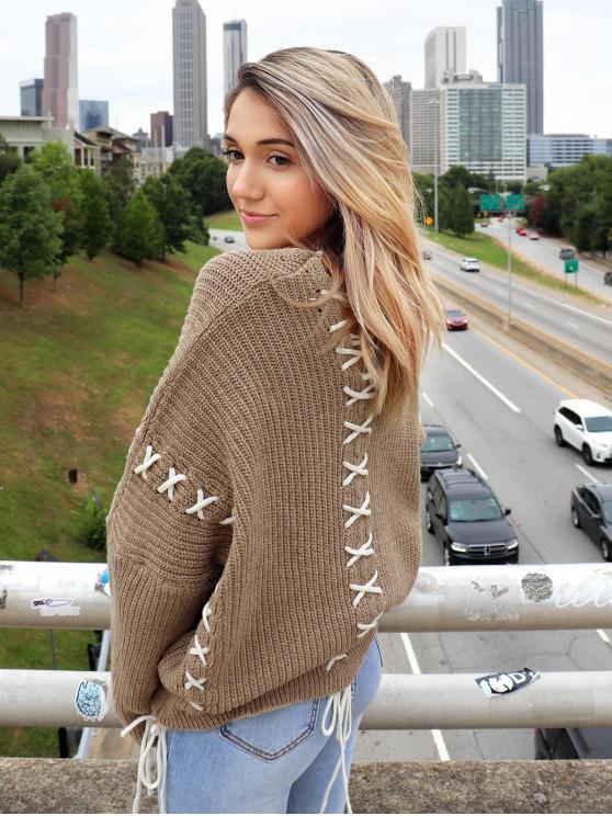 latest ZAFUL x Yasmine Bateman Lace Up V Neck Open Knit Sweater - DARK KHAKI S