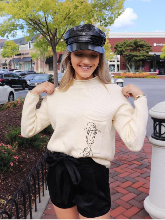 ZAFUL x Yasmine Bateman jersey con cuello redondo y gráfico con bolsillo frontal - Blanco Cálido M