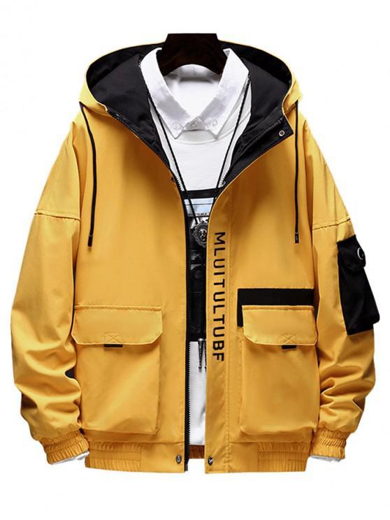 Chaqueta con decoración de bolsillo con diseño de letras - Amarillo M