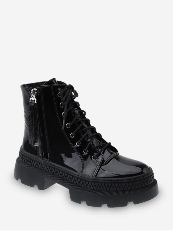buy Solid Color Lace-up Decoration Boots - BLACK EU 35