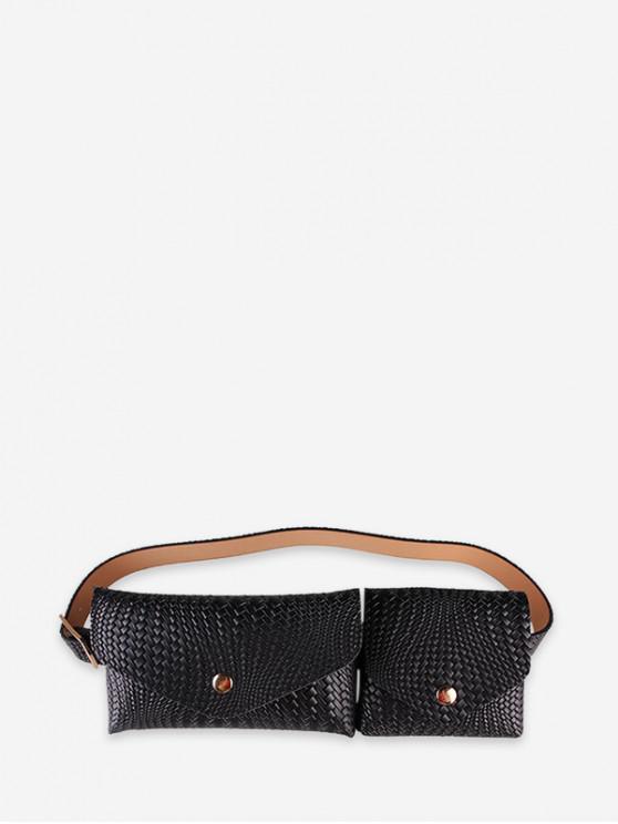 Doble Diseño La bolsa de correa del paquete de Fanny - Negro