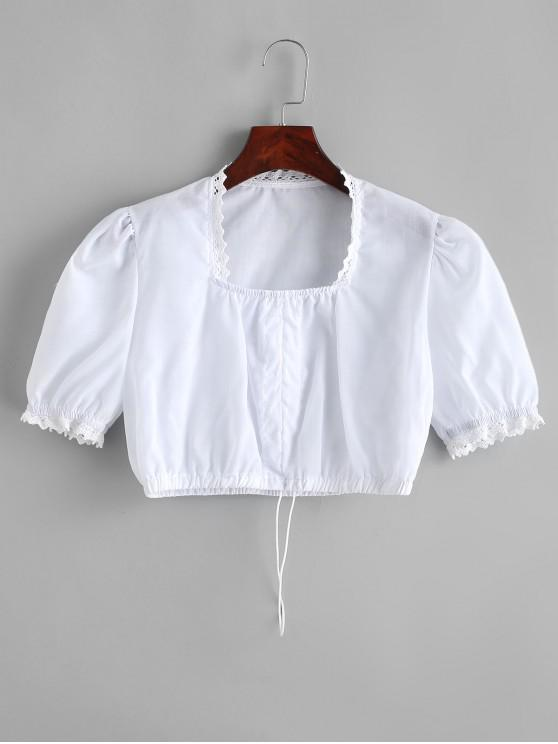 lady Cropped Crochet Trim Cinched Front Blouse - WHITE M