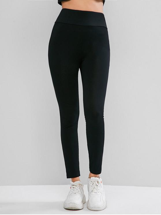 chic ZAFUL Basic Elastic Waist Skinny Leggings - BLACK S
