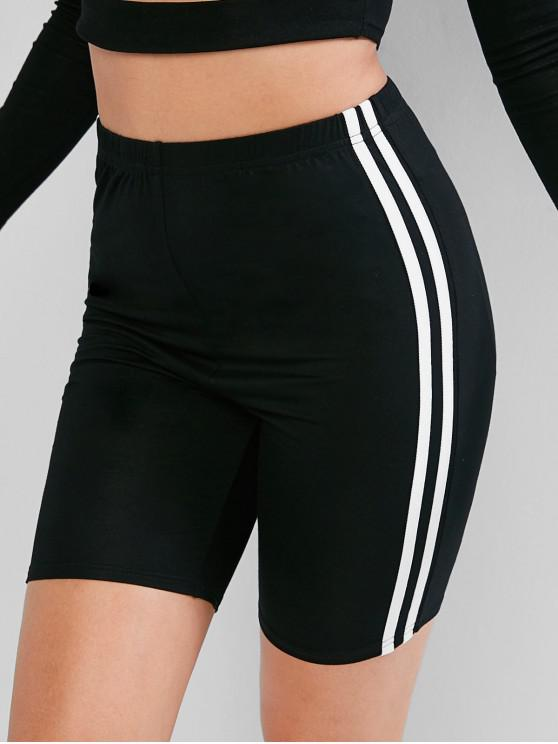 Pantalones cortos de motociclista de rayas de carreras de cintura alta ZAFUL - Negro XL