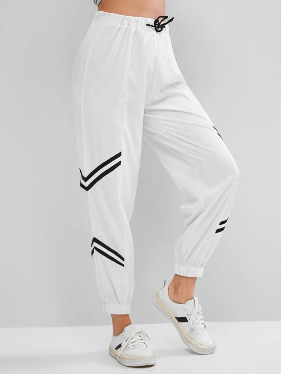 best Striped Panel Drawstring High Waisted Jogger Pants - WHITE M