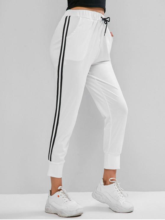 Pantalon de Jogging Rayé à Cordon avec Poche - Blanc S