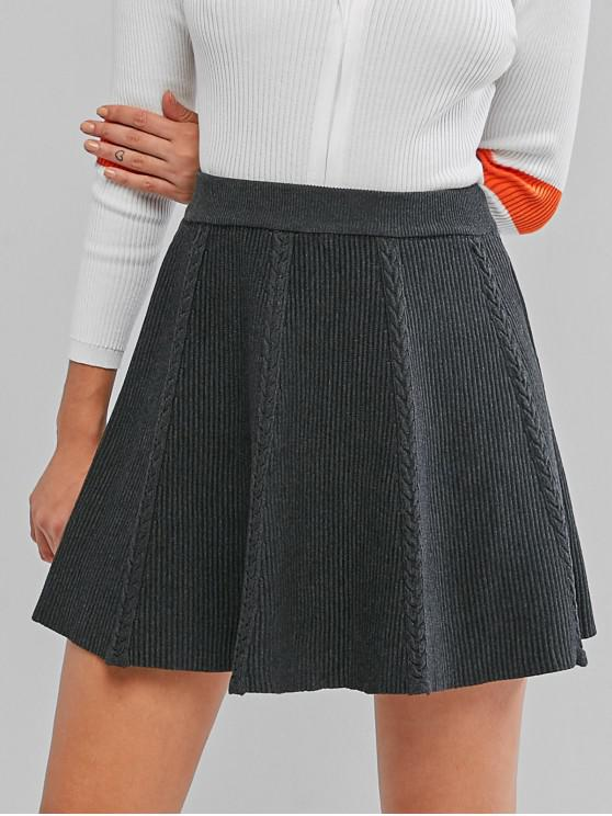 shops High Waist Cable Knit A Line Skirt - DARK GRAY ONE SIZE