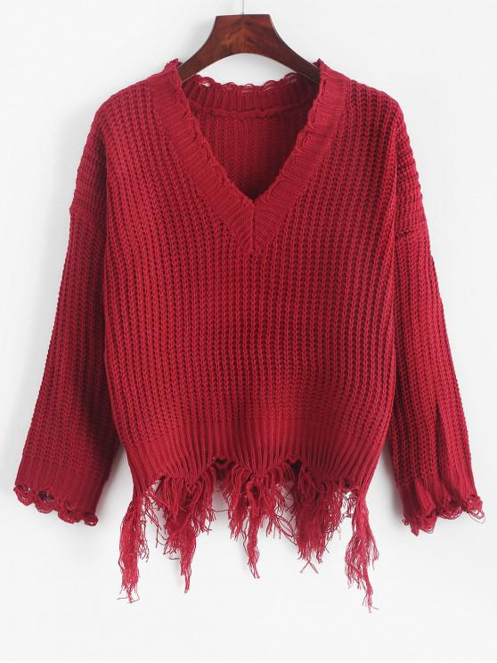 buy Ripped Drop Shoulder V Neck Sweater - RED WINE ONE SIZE