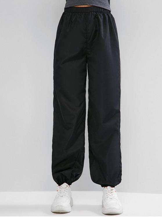 outfits ZAFUL High Waisted Windbreaker Casual Jogger Pants - BLACK L