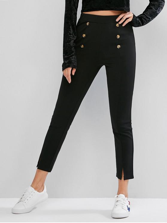 best ZAFUL High Waisted Buttoned Slit Hem Skinny Pants - BLACK S