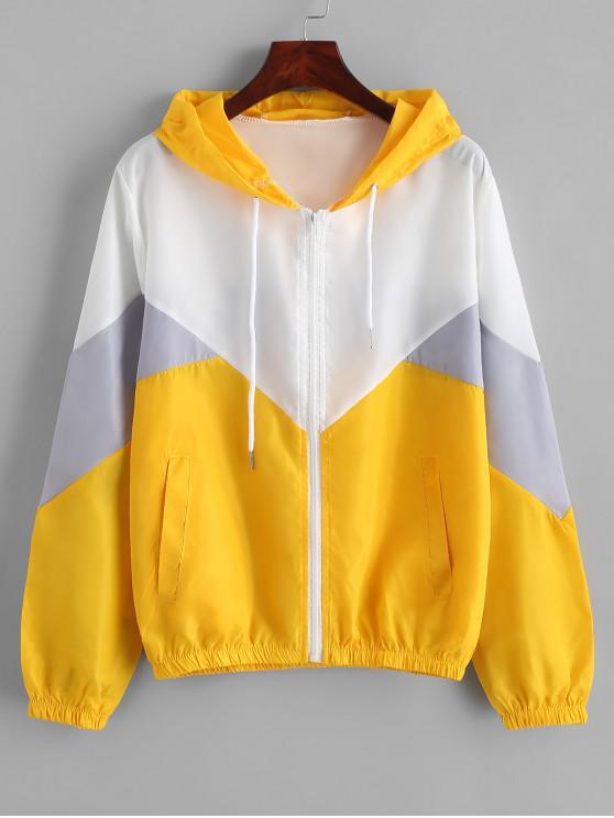 chic Hooded Color-blocking Zip Windbreaker Pocket Jacket - YELLOW S
